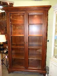 glass front bookcase wood