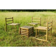 bamboo outdoor dining table set for