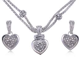 clear crystal rhinestone big full heart chain rope earrings necklace pendant set n0343 9 99 alilang fashion costume jewelry accessories