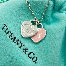 tiffany sterling silver return to tiffany tiny double heart tag necklace 803