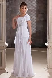 Short Sleeve White Chiffon Evening Dresses Floor Length Beach