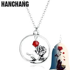 beauty and the beast pendant fashion jewelry beauty beast necklace rose flower pendant beauty and
