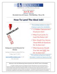 workshop how to land the ideal job brookdale community details