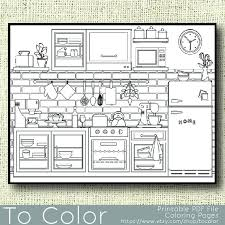 Small Picture Items similar to Printable Kitchen Coloring Page for Adults PDF