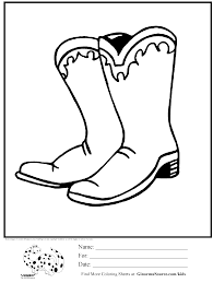 Coloring Page Cowboy Boots Ginormasource Kids
