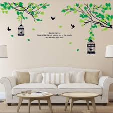 Wall Decor Sticker Tree Branches Birdcage Birds Wall Decals For Living Room Bedroom