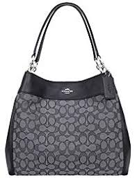 Lexy Shoulder Bag in Outline Signature khaki chalk F57612. Coach