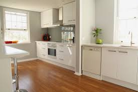 Bamboo Kitchen Flooring Modern White Kitchen With Bamboo Flooring And Grey Walls My