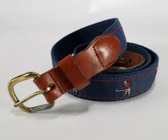 details about leather man ltd canvas belt golf golfer club driver 42 blue made in usa