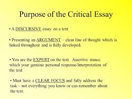 critical essays national purpose of the critical essay a purpose of the critical essay a discursive essay on a text presenting an argument clear