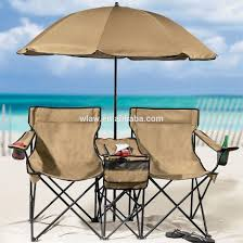 beach double chair with cooler table and umbrella