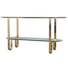 design institute of america brass and glass console table for sale