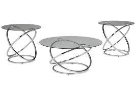 Industrial coffee table rustic metal and wood living room. Hollynyx Chrome Occasional Table Set Set Of 3 Best Buy Furniture And Mattress
