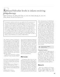 Bilirubin Levels Chart Pdf Rebound Bilirubin Levels In Infants Receiving