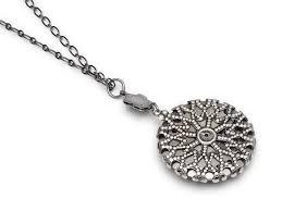 steampunk necklace antique wrisch movement gears circa 1940 17 ruby jewel silver flower with filigree bezel