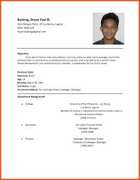 Resume Pattern For Job Application Program Format