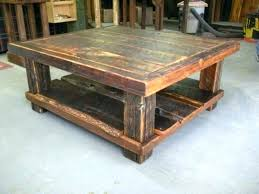 distressed square coffee table
