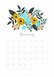 january 2018 calendar free printable january 2018 calendar monthly planner floral design