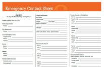 Emergancy Contact Sheet Emergency Numbers List For Your Childs Caregiver Medic Alert