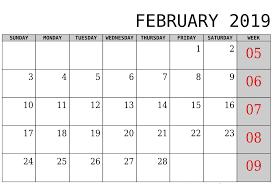 Calendar Doc February 2019 Calendar Doc Free Printable 2019 Calendar