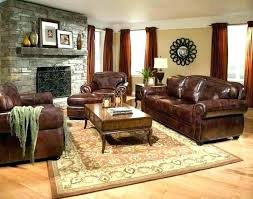 living room with brown couches sofa decorating ideas leather decor grey rug furniture
