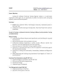 Qa Tester Resume Samples Manual Tester Sample Resume Testing