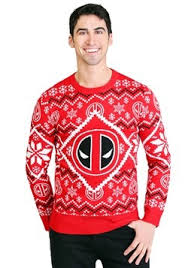 Deadpool Intarsia Logo Adult Knit Christmas Sweater update1 Ugly Sweaters - Adult, Kids Holiday