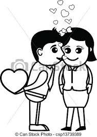 Cartoon Valentine Couple Kissing