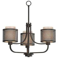 3 light bronze mesh chandelier with inner cream fabric shade
