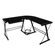walker edison soreno 3 piece l corner desk black with glass