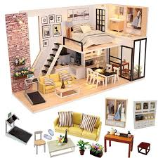 whole doll house furniture miniature dollhouse diy miniature house room box theatre toys for children stickers diy dollhouse p