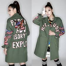 women trench coats new plus size long coat sleeves fashion military style letters eagle embroidered cashmere