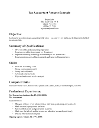 Example Of Resume For Accountant Resume Template Sample Resume For Tax Accountant Free Career 44
