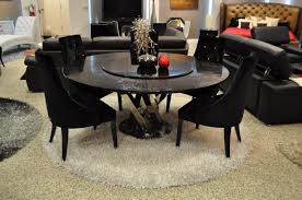 round dining table with lazy susan. Round Black Crocodile Lacquer Table W Lazy Susan Dining With