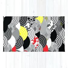 red and yellow rug nature background with flower cherry wave circle black gray white red yellow