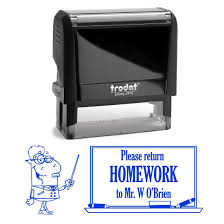 blue ink please return homework custom personalized male teacher st self inking