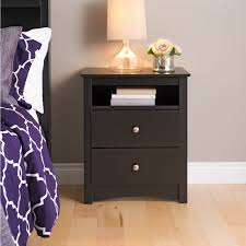 Prepac Fremont 2-Drawer Tall Night Stand with Open Shelf - Espresso |  Hayneedle