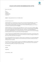 sample letter of recommendation for college application college application recommendation letter templates at