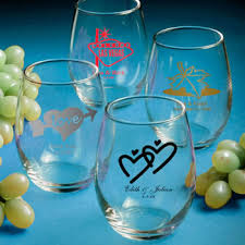 personalized stemless wine glass wedding favors 9 ounce