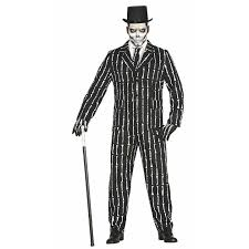 Deluxe SKELETON Bones SUIT Mens Halloween Fancy Dress Adult Costume