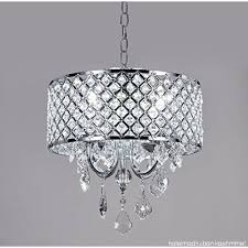 diamond life 4 light chrome round metal shade crystal chandelier pendant hanging ceiling fixture b01m75c085