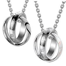 urban jewelry romantic his hers couples my only love real love rings pendant necklace 19 21 chain