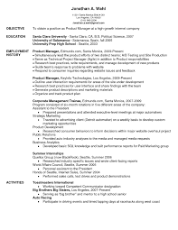 Product Manager Resume Objective The Letter Sample