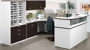 Modern office workstations Person Office Modern Office Impressions Custom Reception Deskworkstation