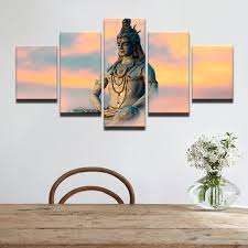 wall art modern pictures frame canvas hd printed painting 5 piece great india deities siva