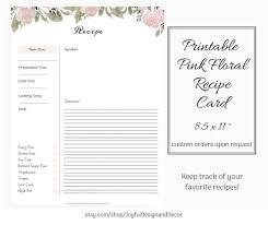 Full Page Recipe Templates Editable Recipe Page Floral Printable Recipe Card Blank Recipe Templates Recipe Organization Recipe Storage Ideas Full Page Recipe Card
