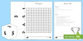 Race To 100 Game 100th Day Of School Usa Math Ks1
