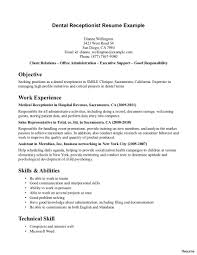 Dental Receptionist Resume Objective Receptionist Resume Sample Therpgmovie 1