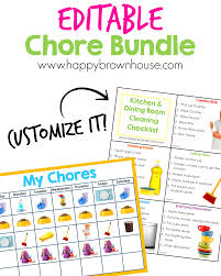 Editable Chore Chart For Kids Happy Brown House