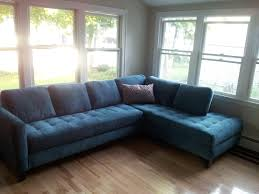 l shaped sofa design ideas feature dark blue l shaped tufted sofa with blue cushion and